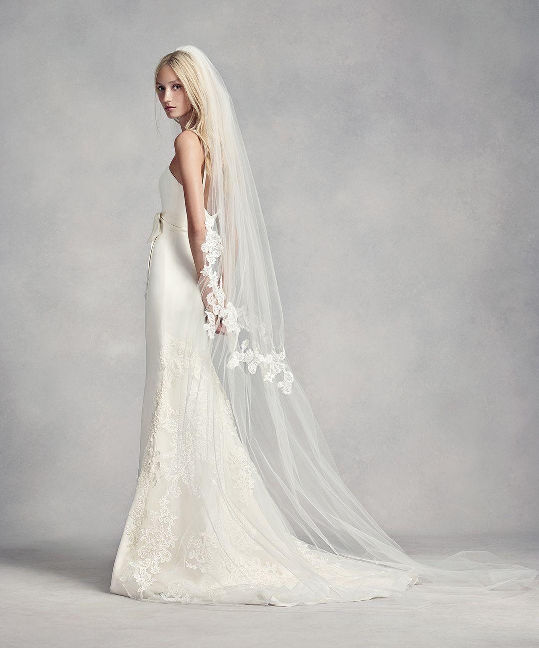 Floral Lace Cinched Cathedral Veil David S Bridal Applique Wedding Dress Lace Applique Wedding Dress Lace Bridal Gown [ 1300 x 1080 Pixel ]