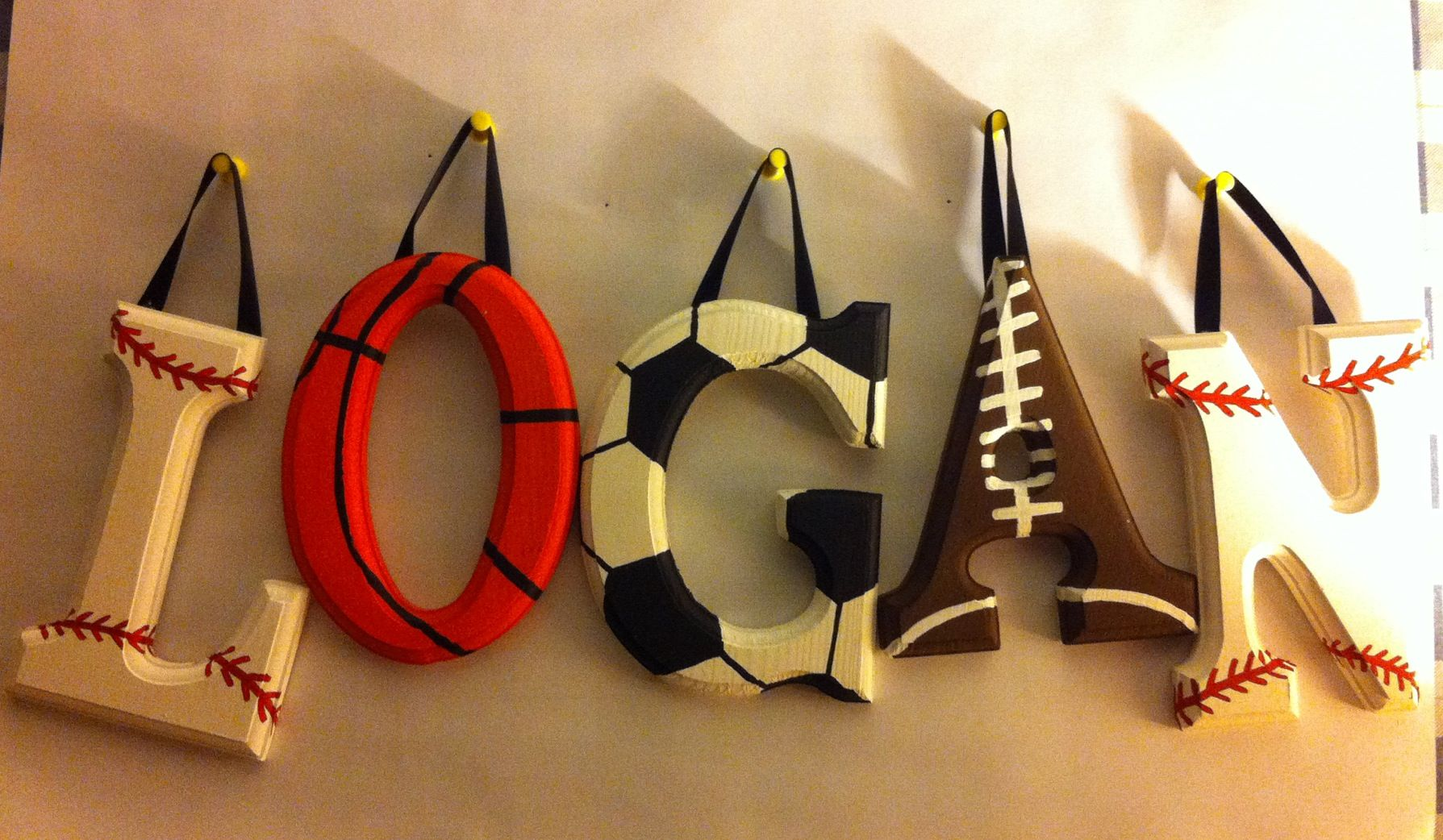 Sports nursery kids wall letters personalized homemade for Homemade wall letters