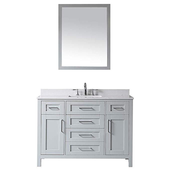 Ove Decors Maya 48 Dove Grey Single Sink Vanity With Marble Top