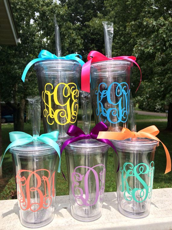 Vine Monogram Tumber Vine Monogram Cup Personalized Custom Preppy Cup 16 oz Tumbler Cup Monogram Acrylic Cup Women Girls Teens Gift    This
