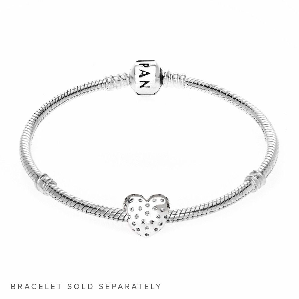 80a843c37 Pandora official British Heart Foundation Sparkling Heart Charm 791241CZ