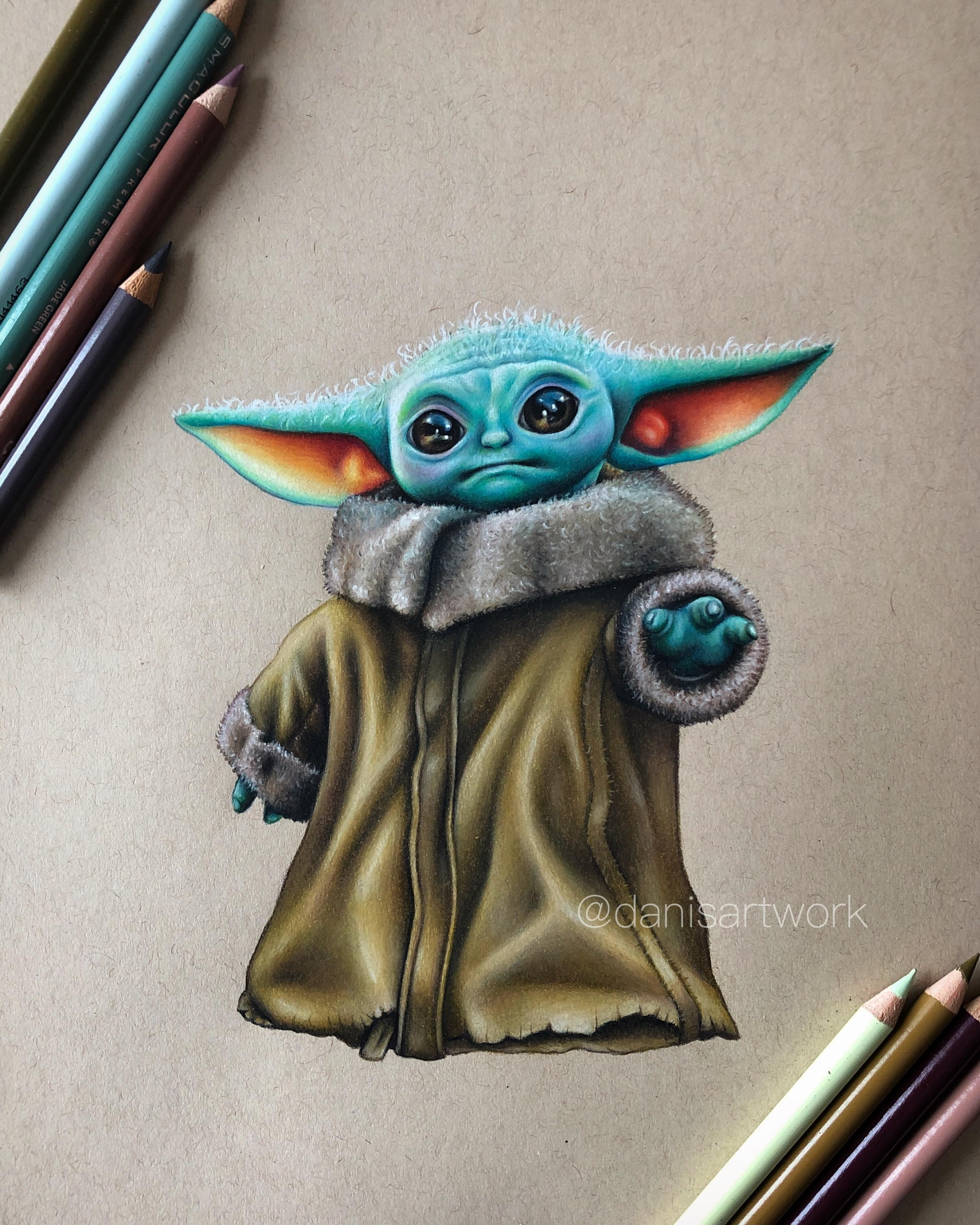 I Finished My Coloured Pencil Drawing Of Baby Yoda In 2021 Star Wars Drawings Star Wars Art Drawings Prismacolor Art
