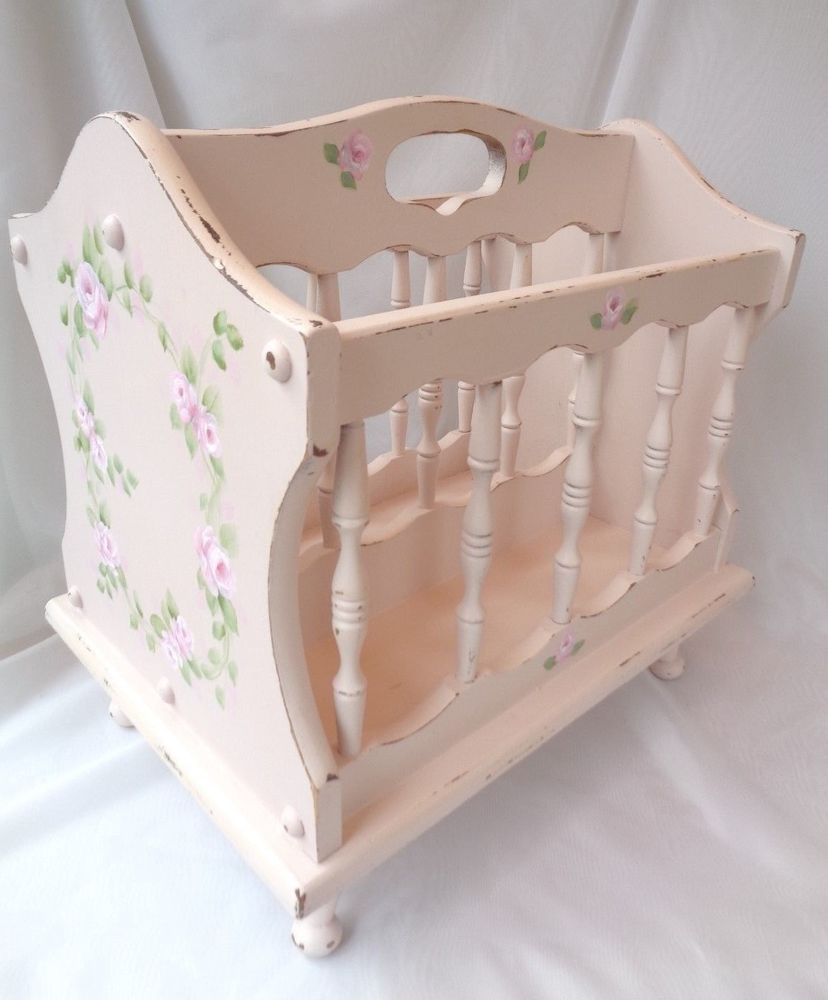 CHIC MAGAZINE RACK STAND hp roses shabby vintage cottage hand painted pink art #VINTAGEWOODENSTANDRACK