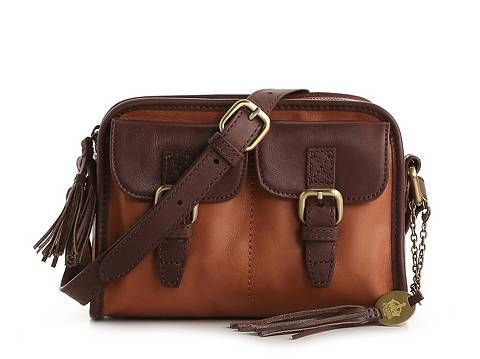 Crown Vintage Leather Double Pocket Cross Body Bag Dsw