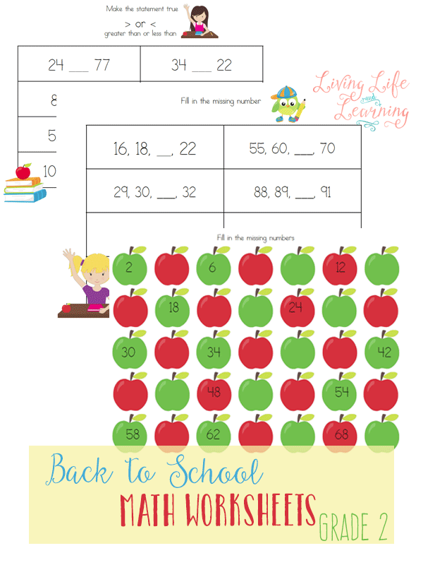 Back to School Math Worksheets for 2nd Grade | Comparing numbers ...