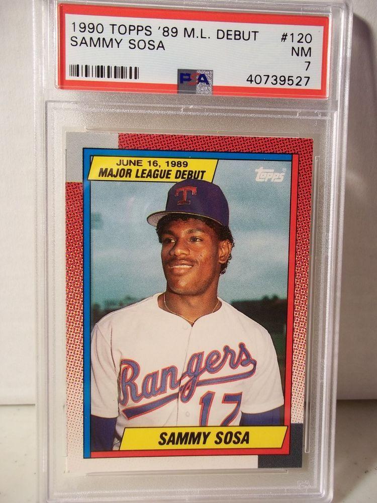 1990 topps debut sammy sosa psa nm 7 baseball card 120