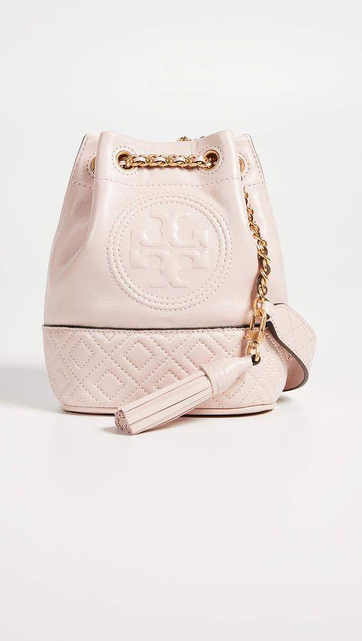 cd22e6381a27 Tory Burch Fleming Mini Bucket Bag Shell Pink Soft Pink Purse Bucket Purse  in very light pink
