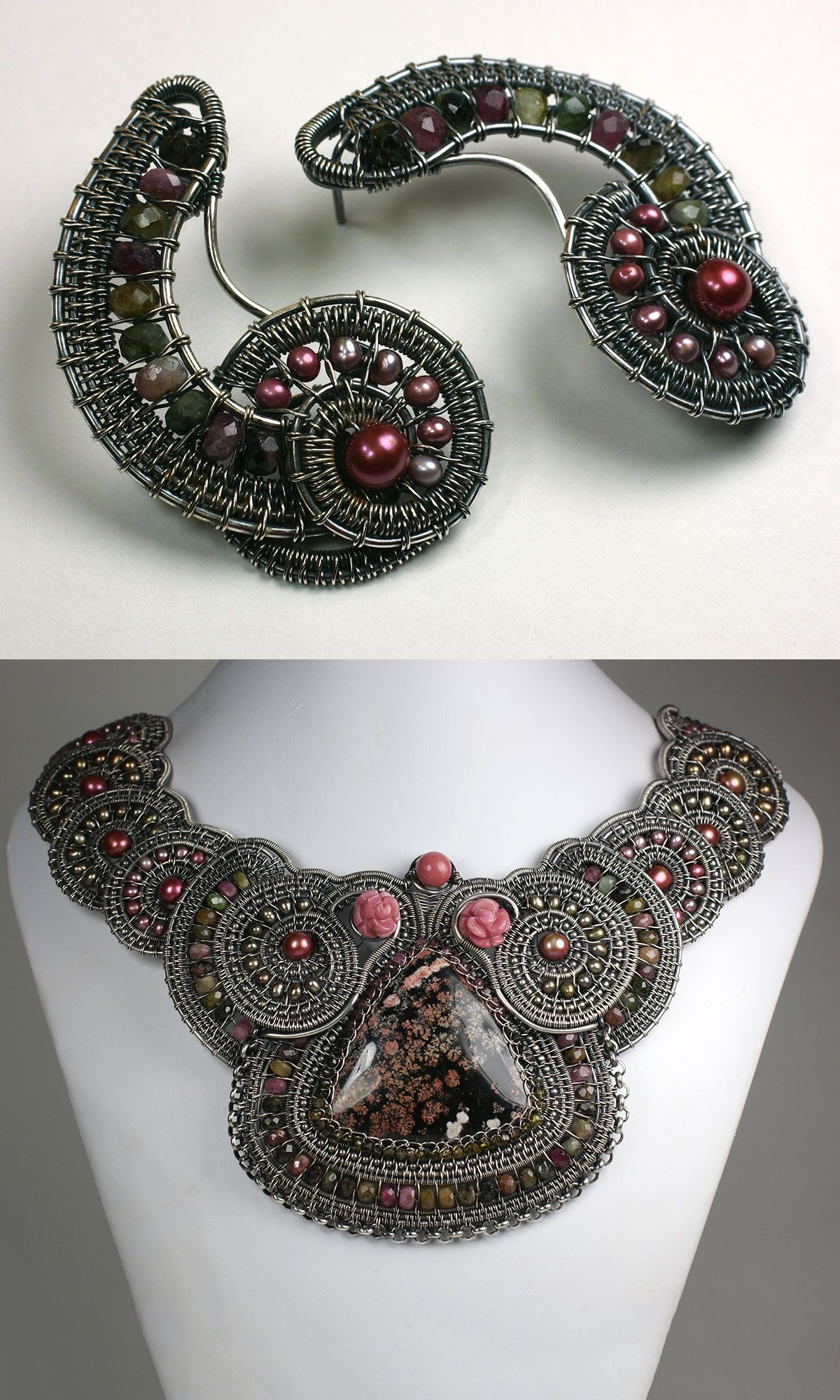 Jewelry Design - Bib-Style Necklace and Earring Set with Wirework ...