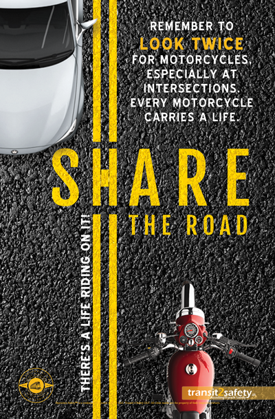 Share the Road Road safety poster, Social awareness posters