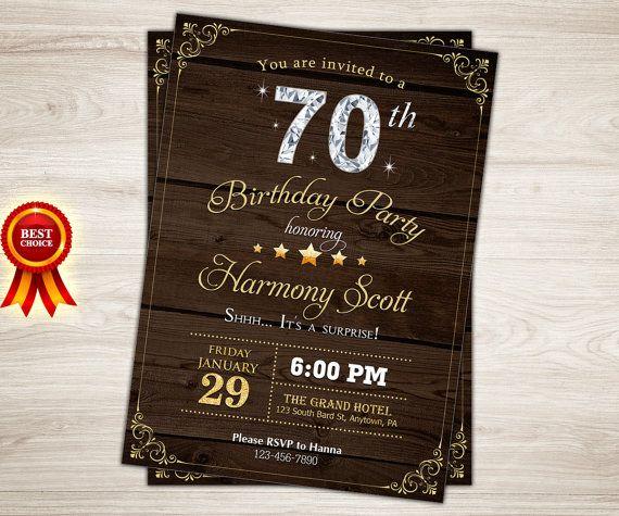 Rustic Wood Birthday Invitation 70th By TopDigitalArt