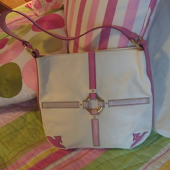 Paola del Lungo purse Paola del Lungo ADORABLE Italian leather purse has trim in all different shades of pink and lavender and a slightly western glam flair. The threading on This purse is rainbow colors!  It is in excellent condition and looks like it has never been carried. paola del lungo Bags Shoulder Bags