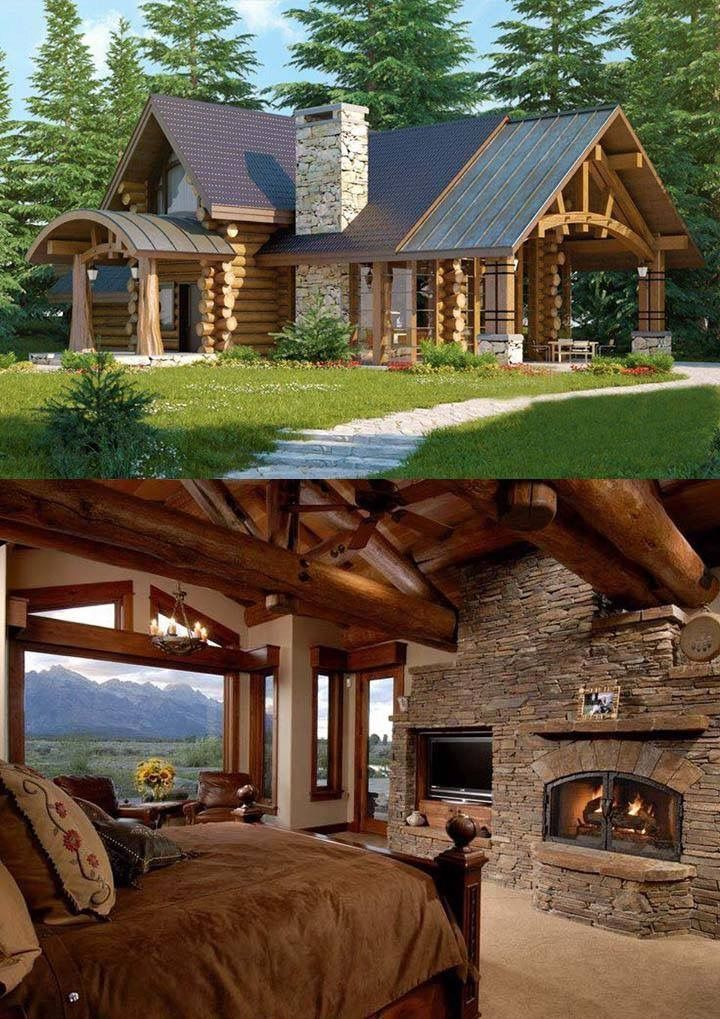 Wood And Stone Wooden House Design House Exterior Log Homes