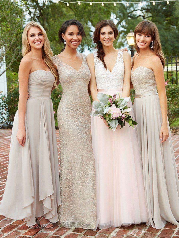 Mismatched Lace Chiffon A Line Custom Bridesmaid Dresses Cheap Unique Tulle Long Long Bridesmaid Gowns Unique Bridesmaid Dresses Mix Match Bridesmaids Dresses