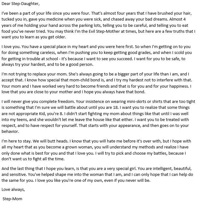 A Letter to my StepDaughter Found this online and changed it