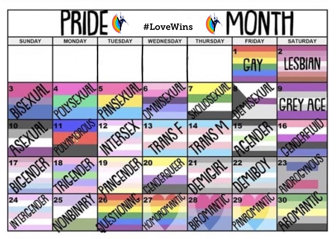 Pride Month Calendar.
