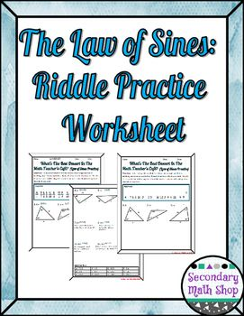 Right Triangles The Law Of Sines Practice Riddle Worksheet Right