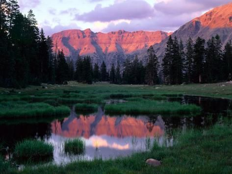 Photographic Print: Ostler Peak at Sunset, Stillwater Fork of Bear River Drainage, High Uintas Wilderness, Utah, USA by Scott T. Smith : 24x18in #utahusa
