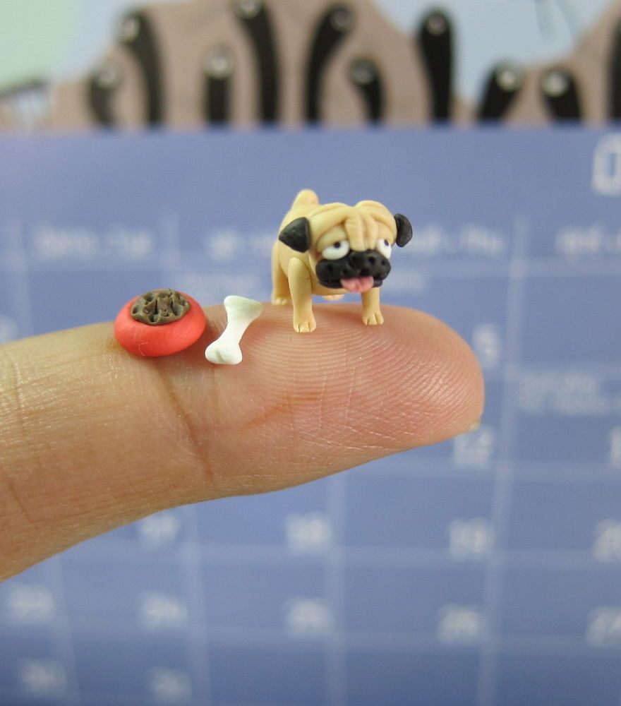 Tan Baby Pug Puppy Collectible Miniature Dog Figurine Handmade by Hagen-Renaker