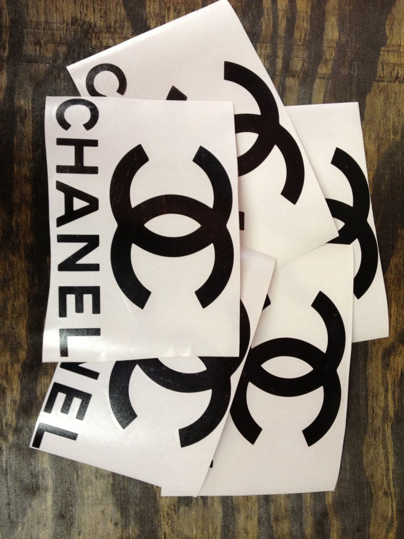 Chanel sticker 9 5 x 6 black chanel 3 00 via etsy