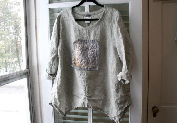 Linen Tunic Shirt / Antique Vintage / Indian Silk Sari / Handkerchief Linen Clothing / Lagenlook Asymmetric Hem Blouse