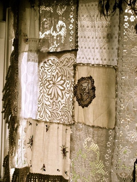 antique lace and sheer remnants quilted beautiful in a window this reminds me