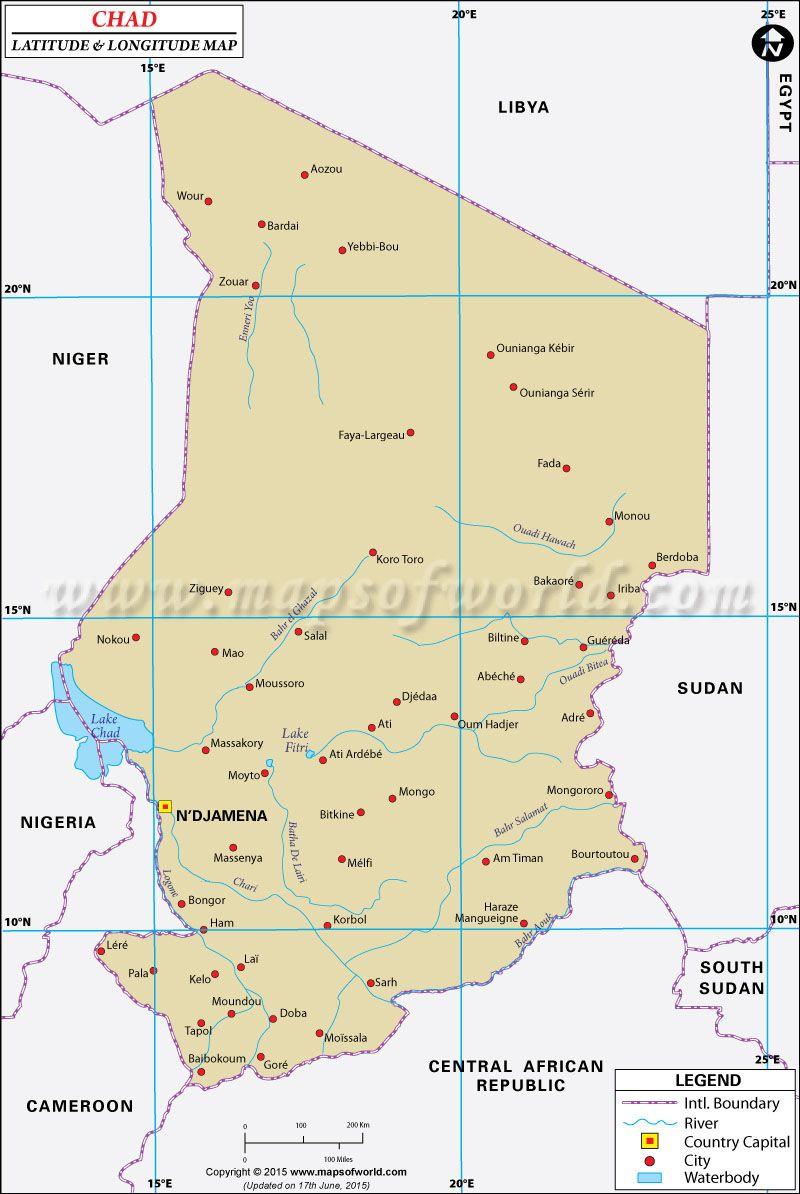 worksheet Africa Latitude And Longitude Worksheets chad latitude and longitude map maps pinterest map