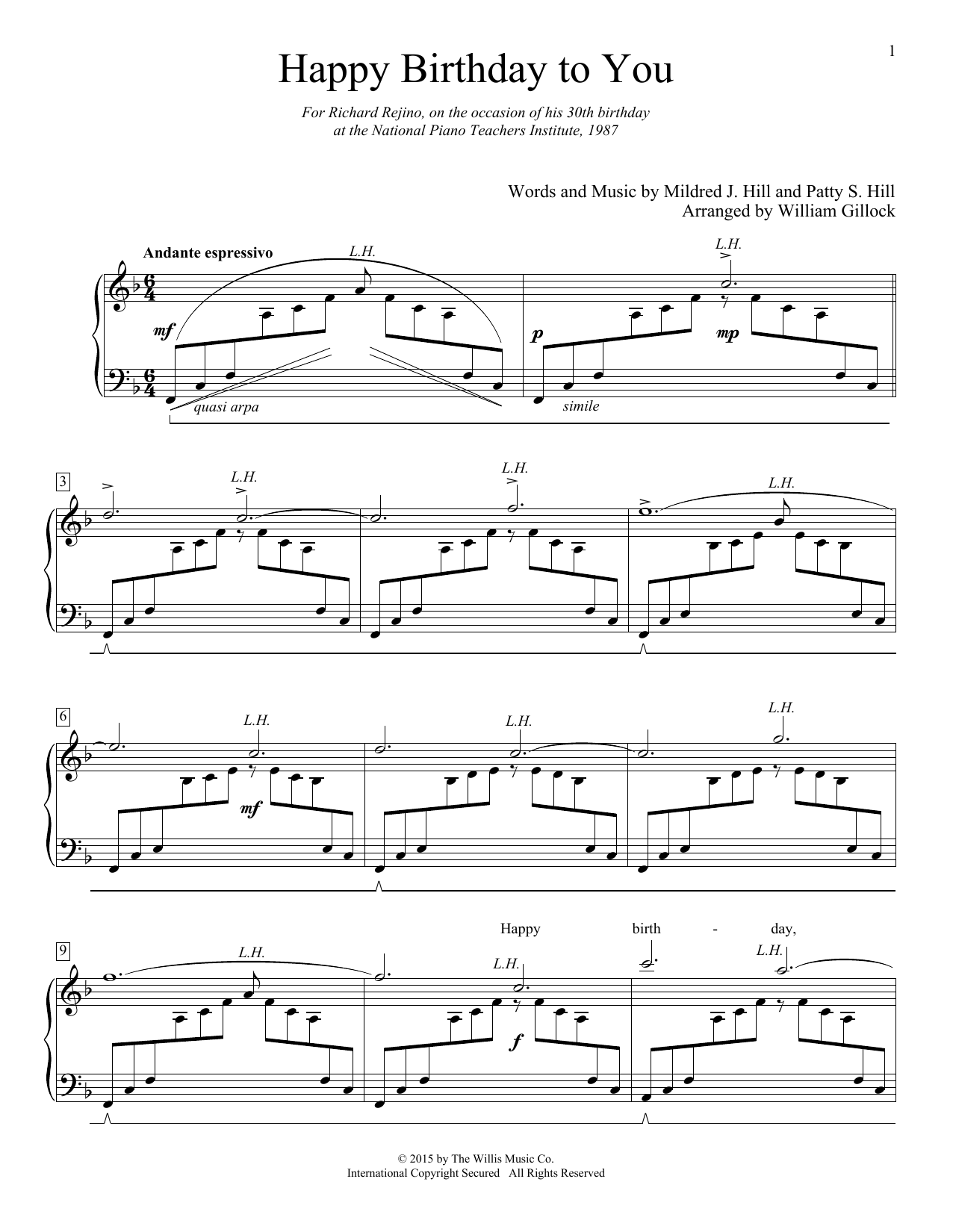 Happy Birthday To You by William Gillock Educational Piano
