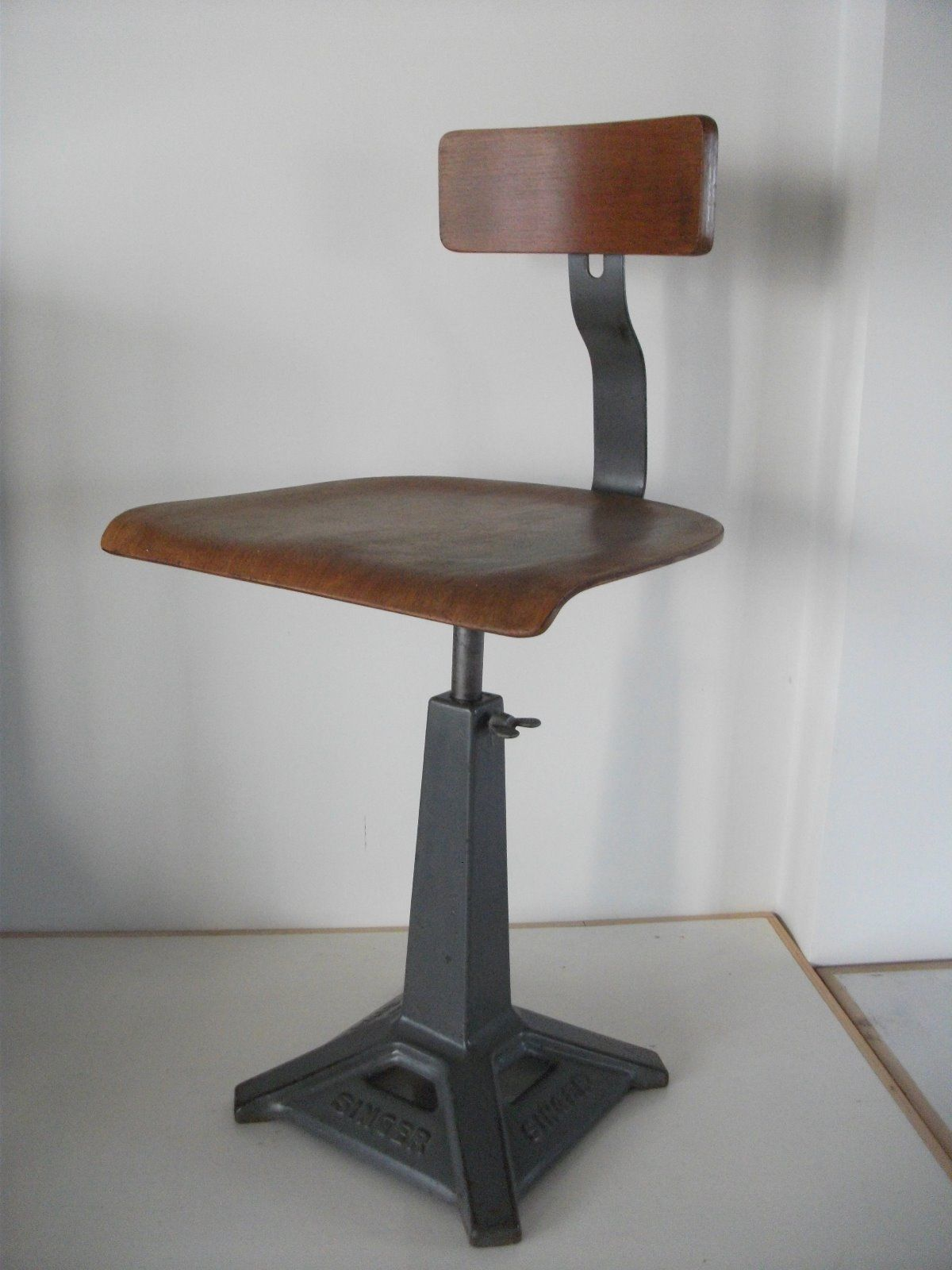 singer sewing machine chair vintage industrial stool