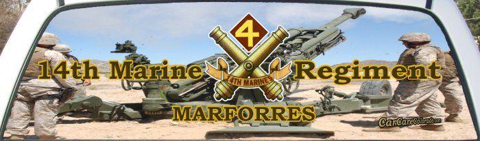 Usmc 14th Marine Regiment Truck Mural For Truck Rear Window Marine Rear Window Mural