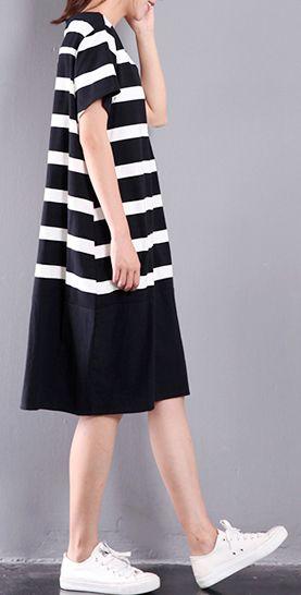 6623cd4ec70e9 black white striped cotton dresses patchwork oversize sundress pockets  short sleeve traveling dress