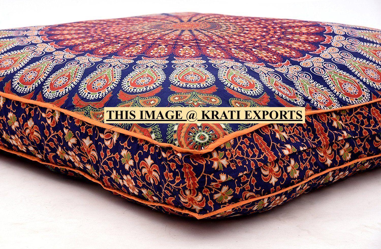 blue mandala pouf ottoman indian mandala floor cushion