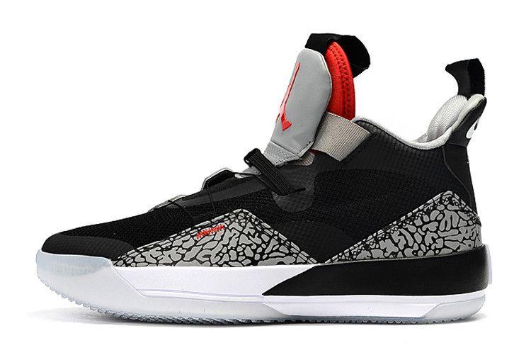 Buy Air Jordan 33 Black Cement Elephant Print Shoes | Air