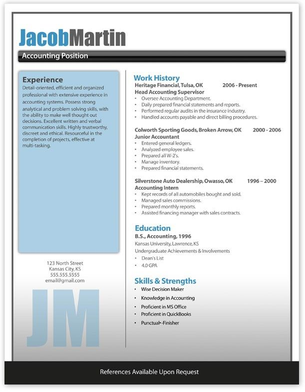 job resume template microsoft word