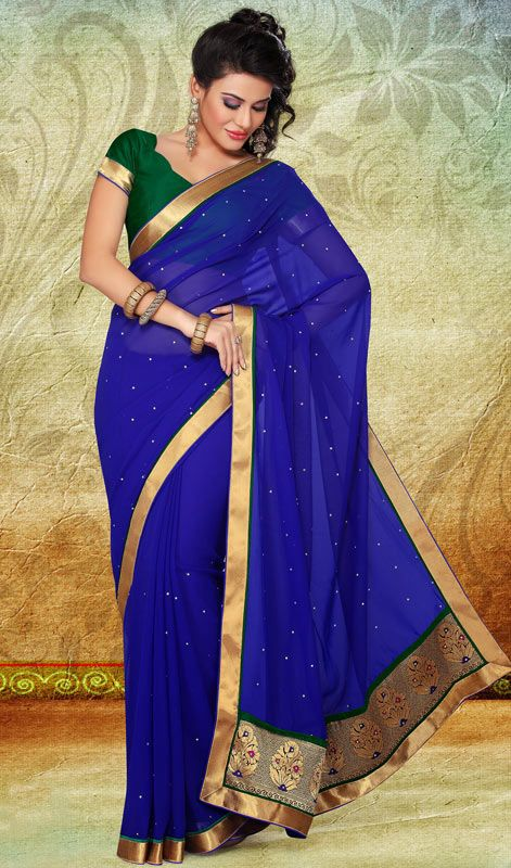 Aesthetic Royal Blue Embroidered Saree