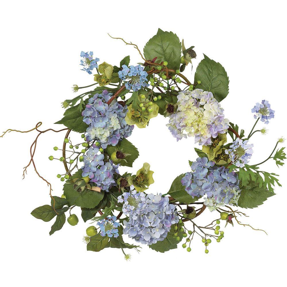 """New Nearly Natural Decorative 20"""" Hydrangea Faux Décor Wreath Free Shipping  Love the colors!"""