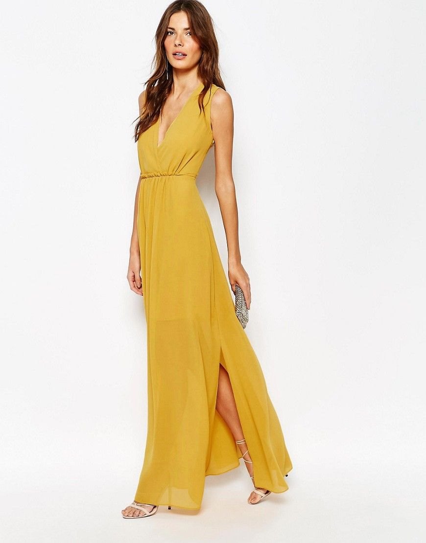 Image of reiss tasca maxi dress with plunge front dresses