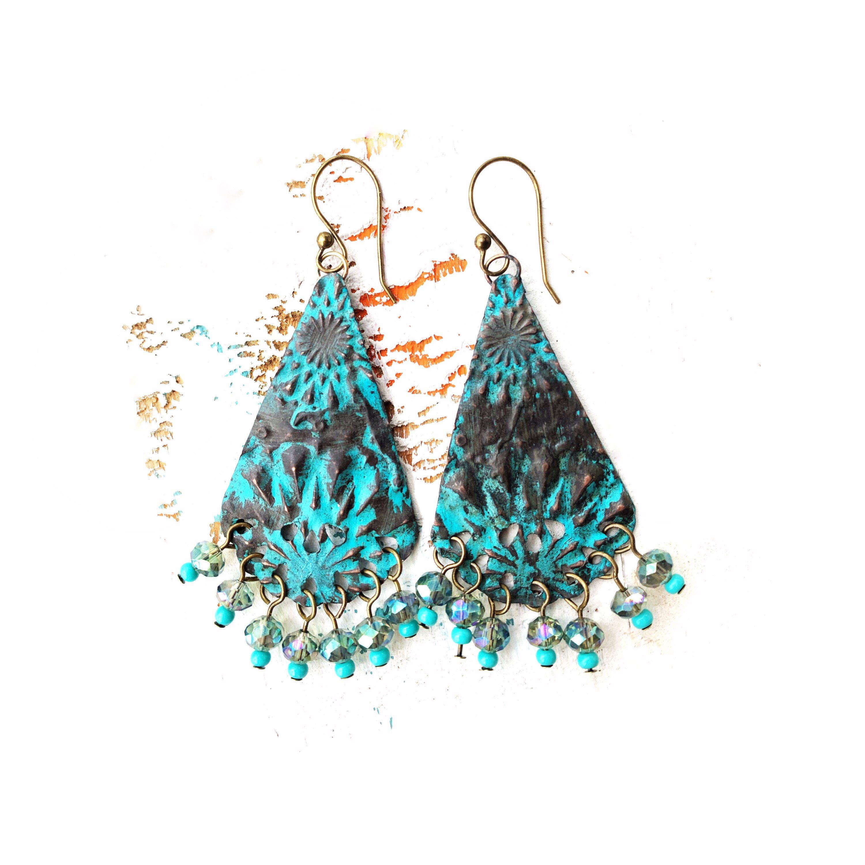 Stacked Turquoise Dangle Loop Earrings