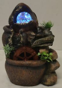 Charmant Indoor Tabletop Electric Water Fountain Sphere / WaterWheel 4 Color LED  Lights