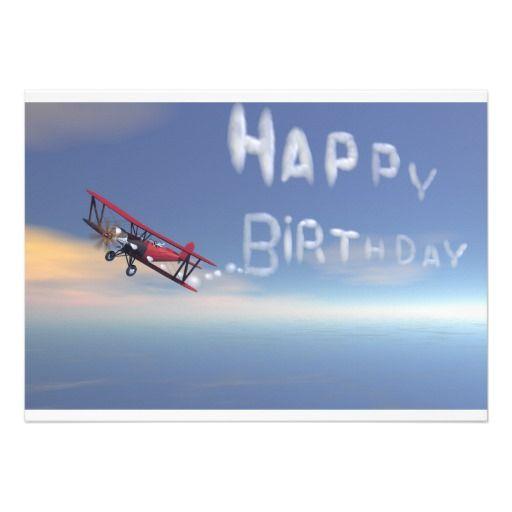 Skywriter Happy Birthday Invitation. Card