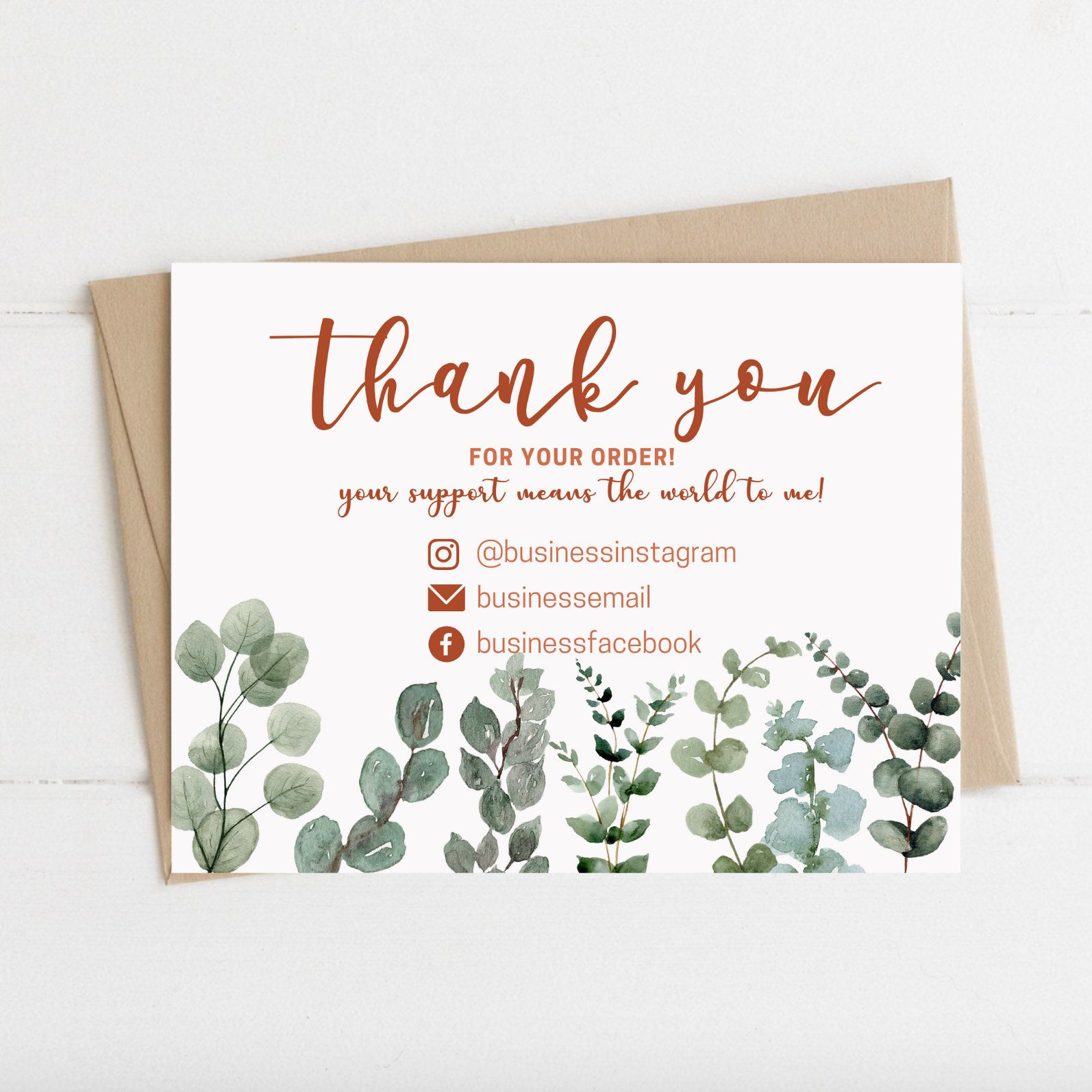 Instant Download Thank You Card Editable And Printable Thank You Card Thank You Card For Business Greenery Thank You Business Cards In 2021 Printable Thank You Cards Thank You Cards Business