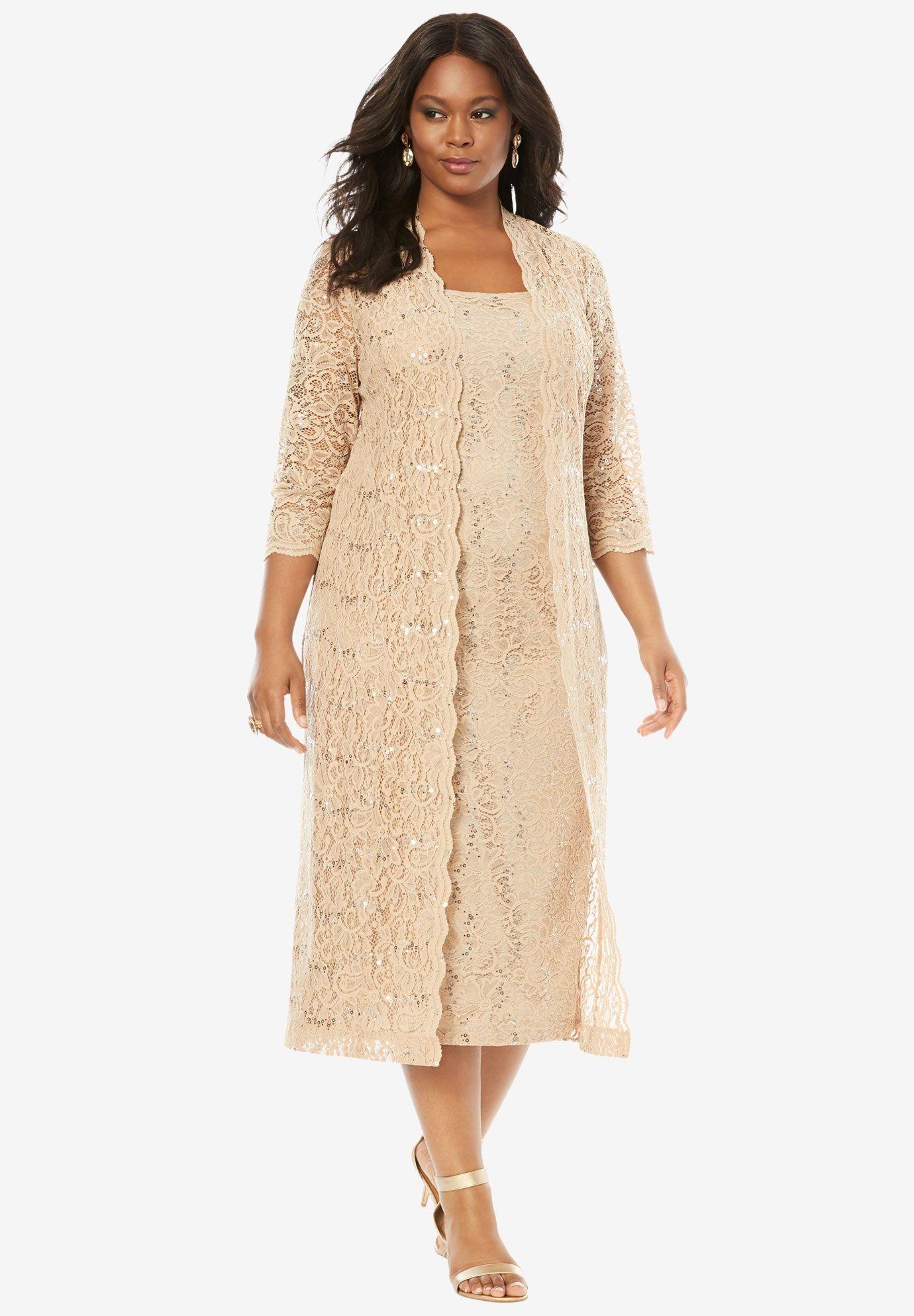 9df67207f8f27 Lace Duster Jacket Dress | Plus Size Dresses | Roamans | mom dresses ...