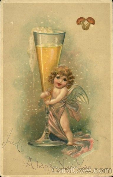Divided Back Postcard A Happy New Year Angels & Cherubs