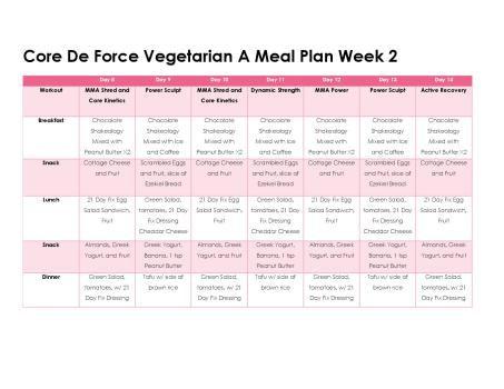 Core De Force Meal Plan A Week 2 Vegetarian Meal Plan Clean Eating 21 Day Fix Core De Force Meal Plan Core De Force 21 Day Fix Meal Plan