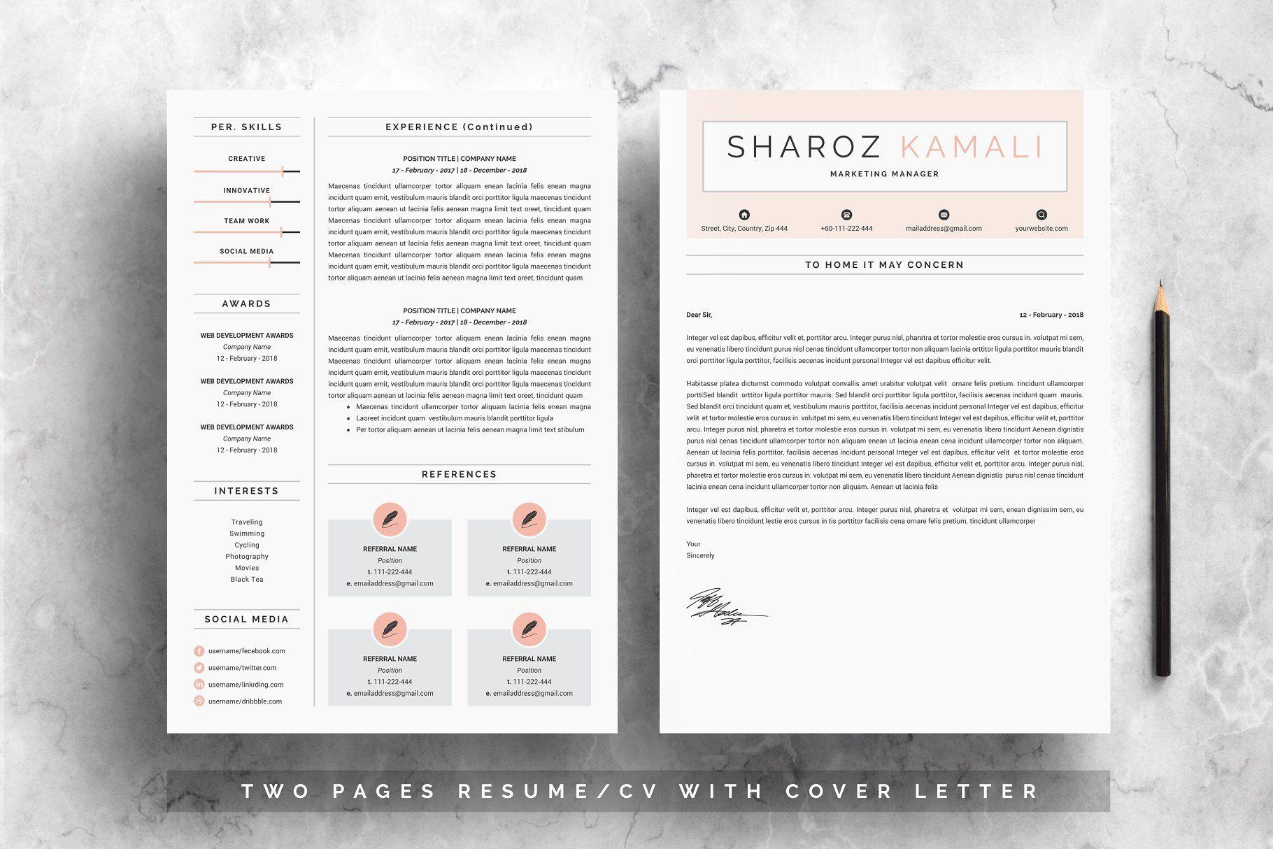 Minimalist resume 4 pages pack resumeminimalistpages