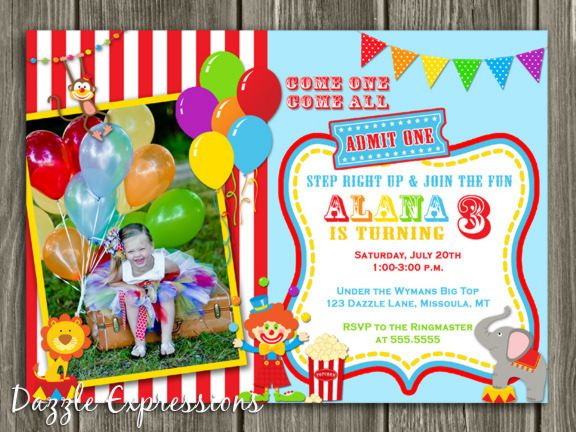 Printable CircusCarnival Birthday Invitation Kids Photo Invite