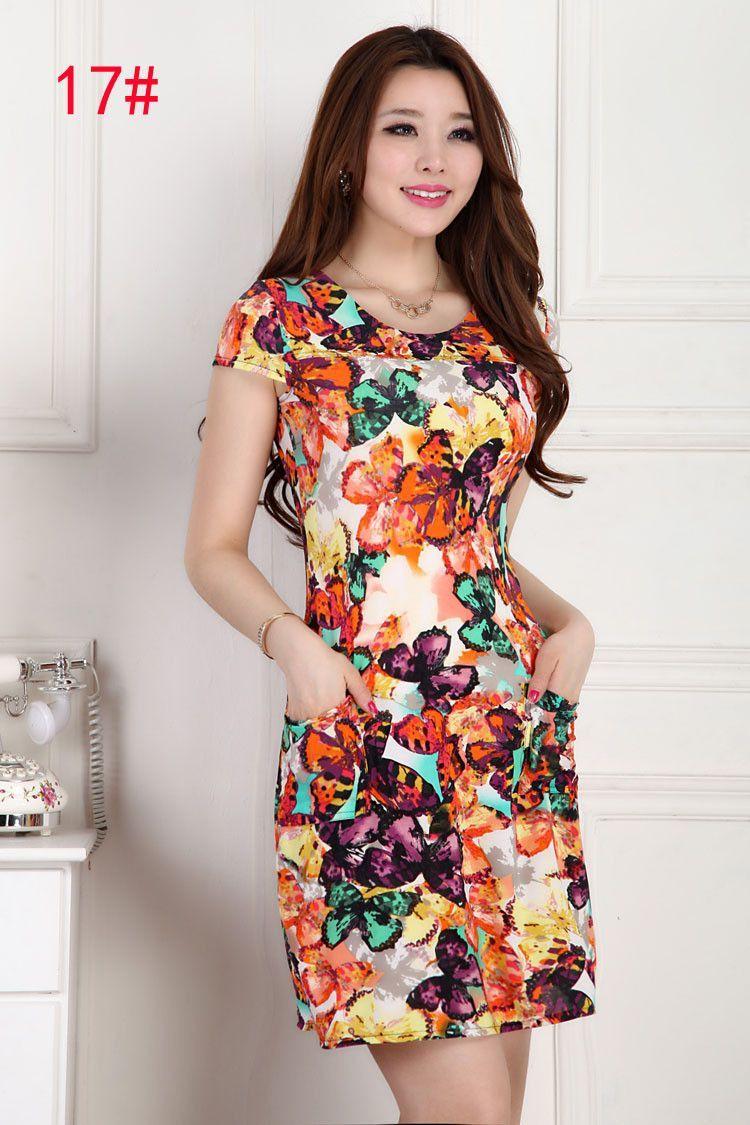 Summer dresses women slim tunic milk silk print floral dress casual