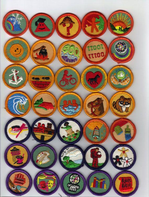 Reserved--- Vintage 1980's Girl Scouts Badges - Awards