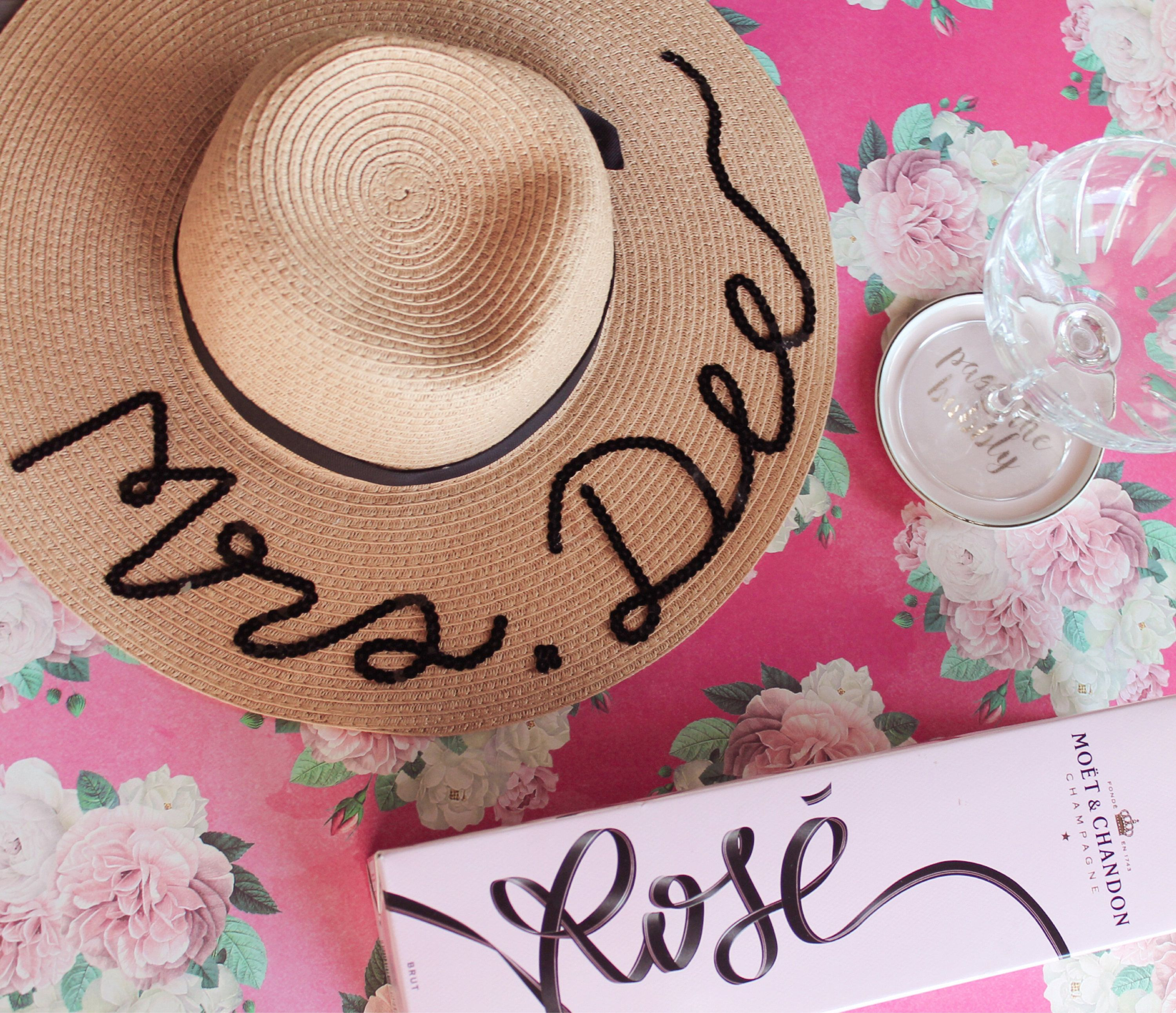 5b946885 Personalized floppy hat - Personalized sun hat - Floppy hat- Floppy beach  hat- Honeymoon hat - Bride gift - rose all day hat by champagneandcrafts on  Etsy