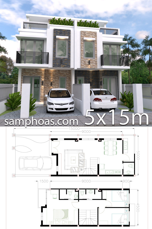 Home Design Plan 5x15m Duplex House With 3 Bedrooms Front Samphoas Plan Town House Plans Duplex House Design Duplex House