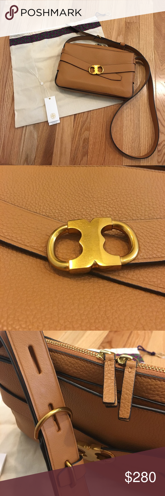 7776c35c5bd Tory Burch Gemini Link Camera Bag in Peanut 💯 Authentic Tory Burch  purchased from ToryBurch.com. Gently used. No rips